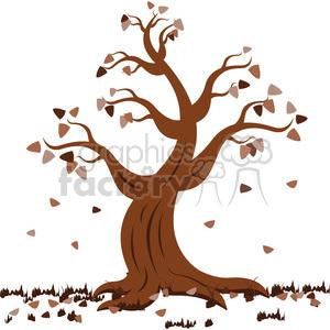 vector cartoon tree in the fall autumn