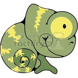 green chameleon curled