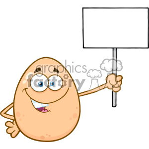 10971 Royalty Free RF Clipart Talking Egg Cartoon Mascot Character Holding A Blank Sign Vector Illustration