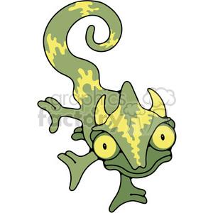 green chameleon crawling