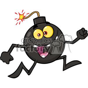 10800 Royalty Free RF Clipart Crazy Bomb Cartoon Mascot Character Running Vector Illustration