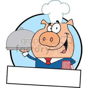 bannner of a waiter pig serving food on a platter
