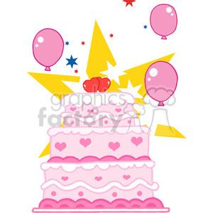 cartoon-pink-birthday-cake