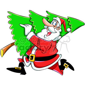 Christmas Images Free Cartoon.Cartoon Santa Running With Christmas Tree Vector Art Clipart Royalty Free Clipart 400459