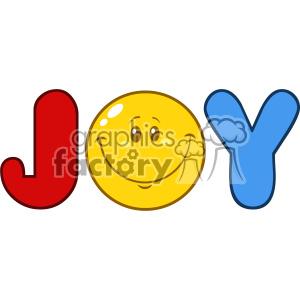 10841 Royalty Free RF Clipart Joy Logo With Smiley Face Cartoon Character Vector Illustration
