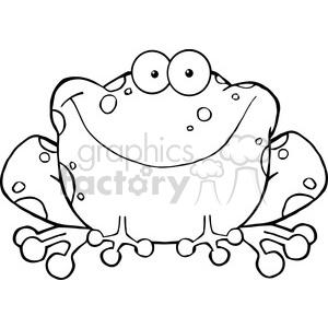 102490 cartoon clipart happy frog cartoon character
