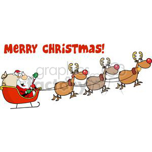 3003-Christmas-Santa-Sleigh-And-Reindeer 380265 vector clip art image ...