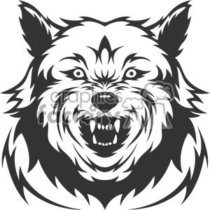 mean wolf growling head vector art