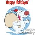 3436-happy-santa-polar-bear-waving-a-greeting-in-the-snow  gif, png, jpg, eps, svg, pdf