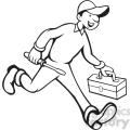 black and white repairman carrying screwdriver  gif, png, jpg, eps, svg, pdf