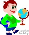 cartoon student holding a globe  gif, jpg