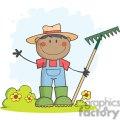 African American Gardener holding a rake