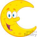 royalty free rf clipart illustration smiling moon cartoon mascot character  gif, png, jpg, eps, svg, pdf