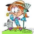 cartoon gardener holding a rake