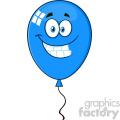 10752 royalty free rf clipart smiling blue balloon cartoon mascot character vector illustration  gif, png, jpg, eps, svg, pdf
