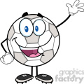 royalty free rf clipart illustration happy soccer ball cartoon character waving for greeting  gif, png, jpg, eps, svg, pdf