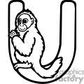 Letter U Uakari Monkey