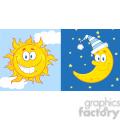 royalty free rf clipart illustration sun and moon cartoon mascot characters  gif, png, jpg, eps, svg, pdf