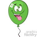10740 royalty free rf clipart crazy green balloon cartoon mascot character vector illustration  gif, png, jpg, eps, svg, pdf