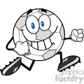 royalty free rf clipart illustration smiling soccer ball cartoon character running  gif, png, jpg, eps, svg, pdf