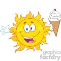 royalty free rf clipart illustration happy sun cartoon mascot character holding a ice cream  gif, png, jpg, eps, svg, pdf